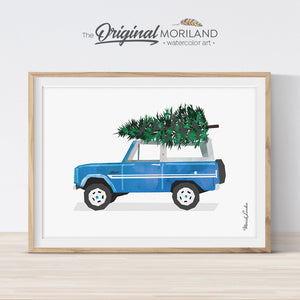 Christmas Bronco car print printable for card, wall art and Christmas decorations