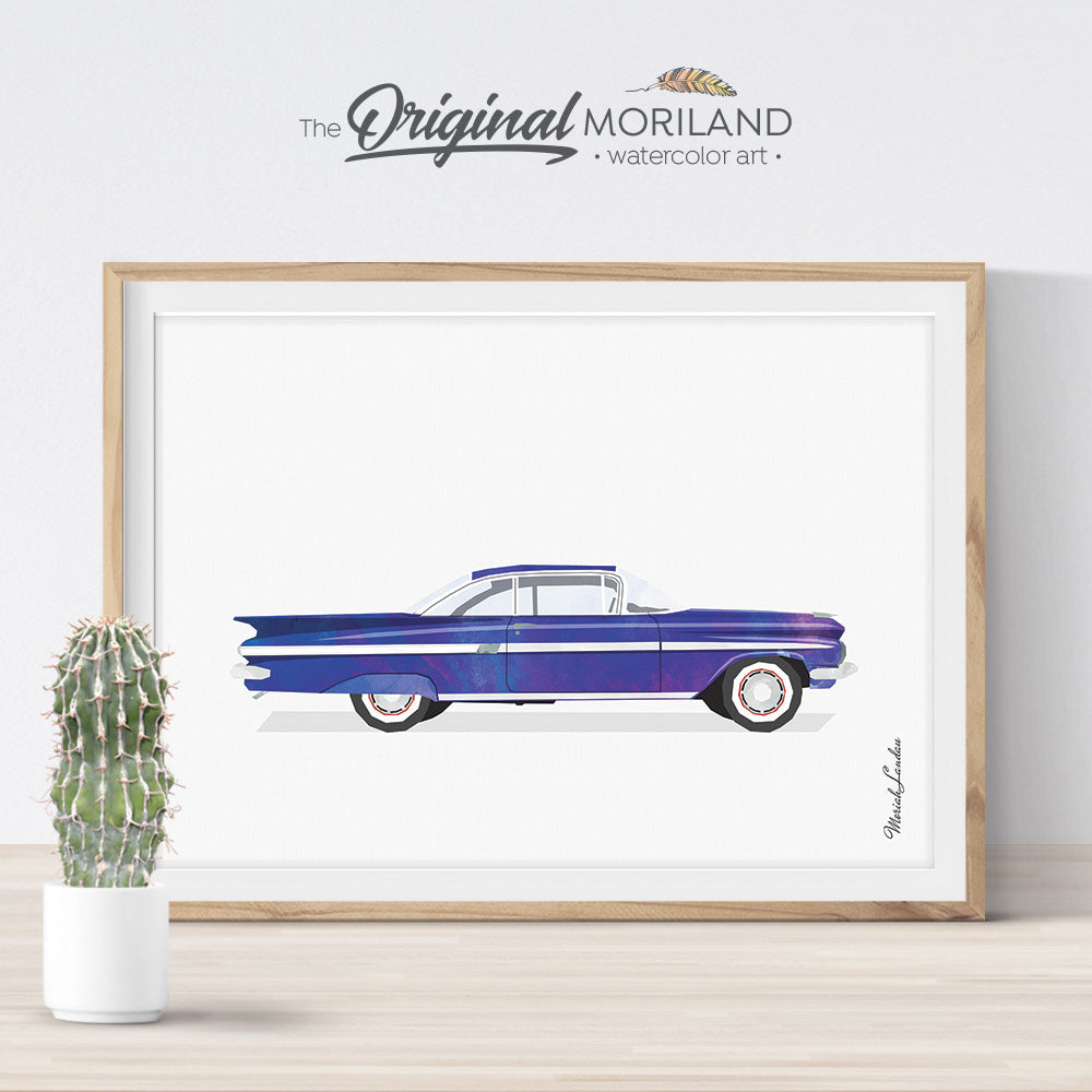 Watercolor Art Classic Car for big boy room decor