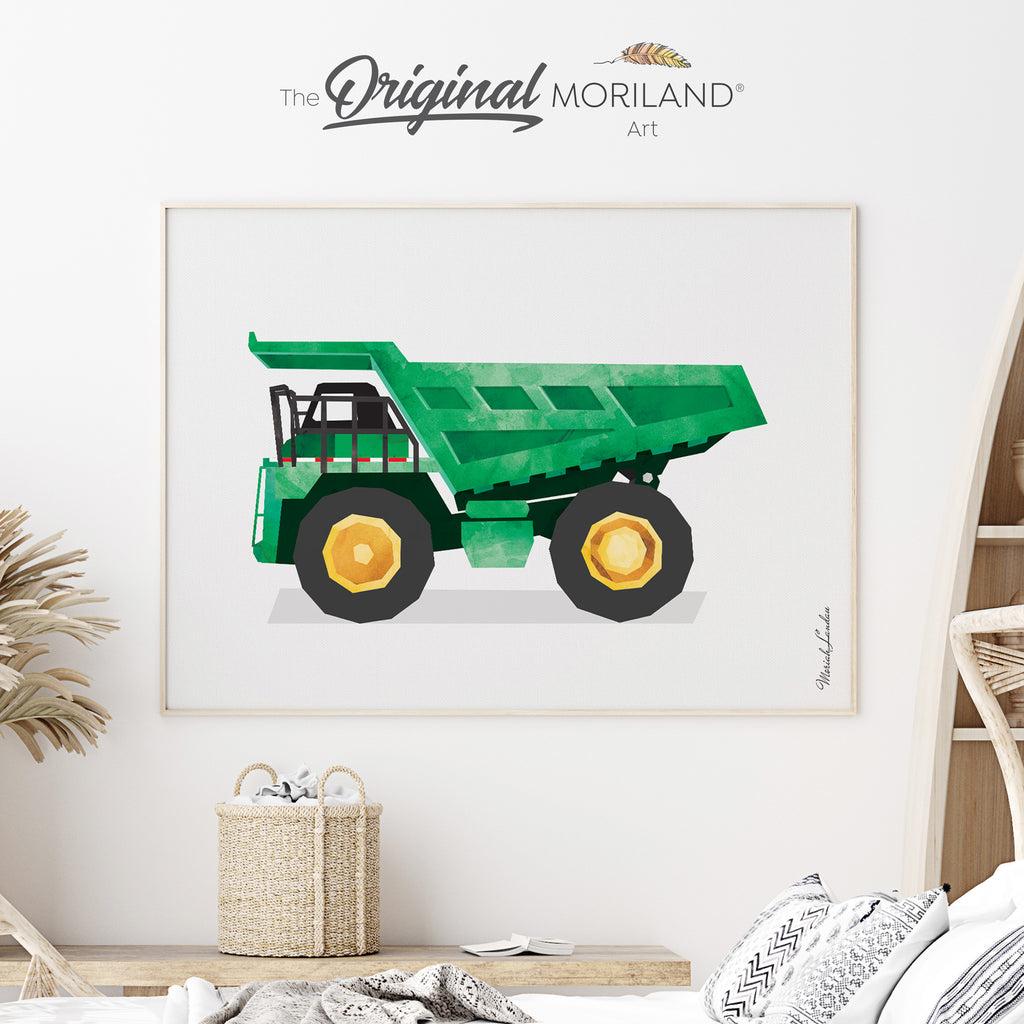 Dump truck construction art for boy room decor by MORILAND