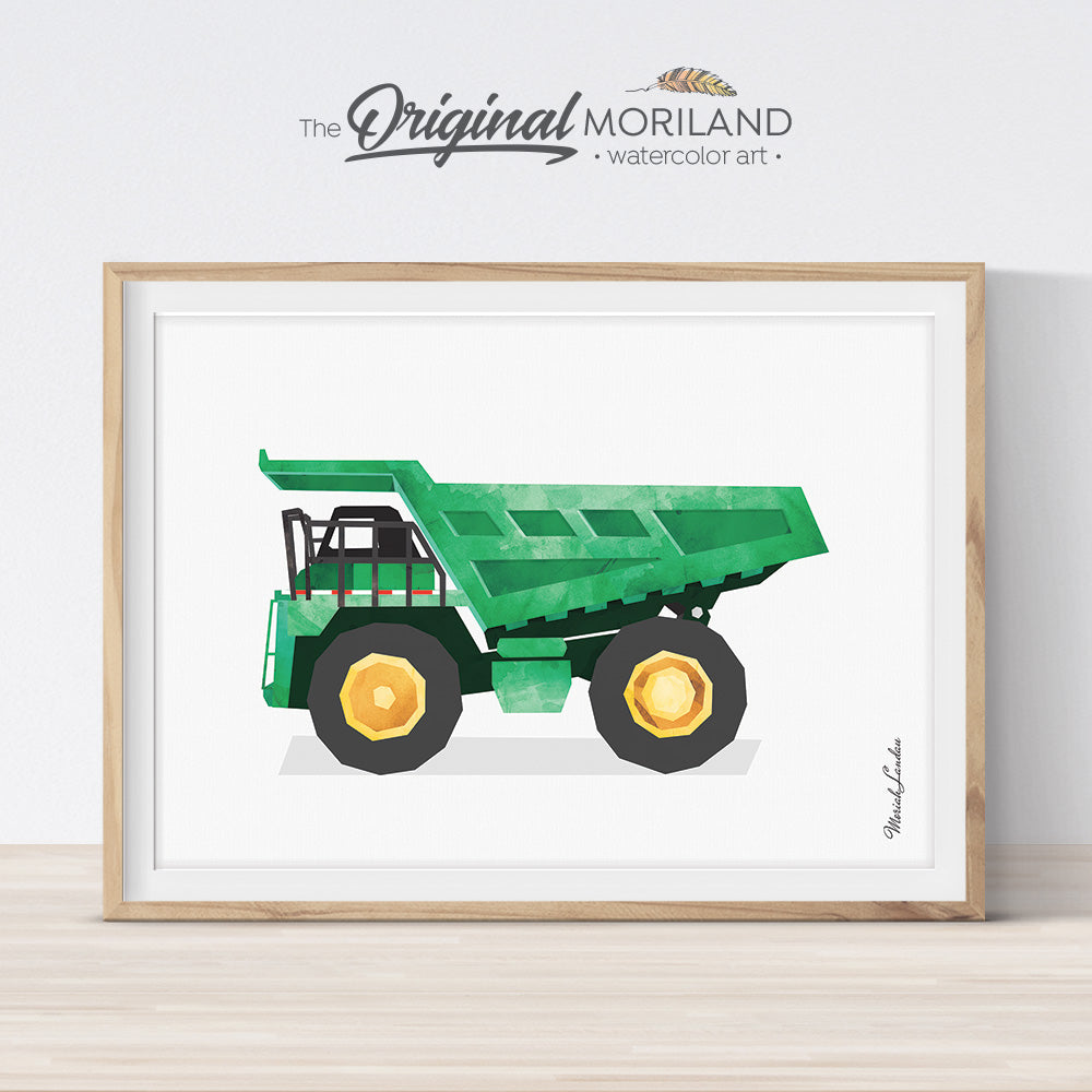 Dump Truck Wall Decor, Dump Truck Print, Construction Vehicle Art, Big Boy Room Decor, Toddler Art, Heavy Equipment, Transportation Decor