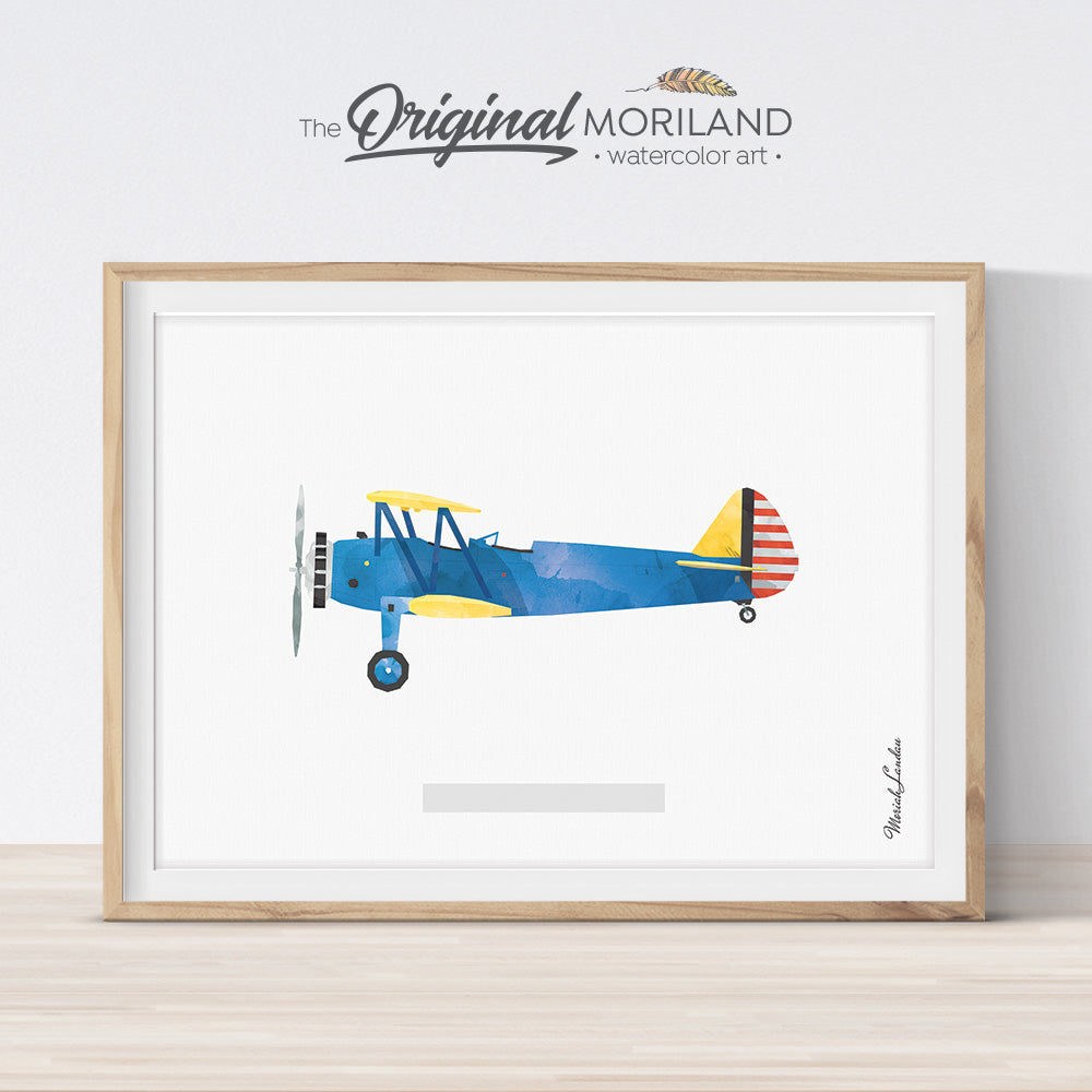 Vintage Stearman Airplane Watercolor Wall Art for Boy Bedroom Decor