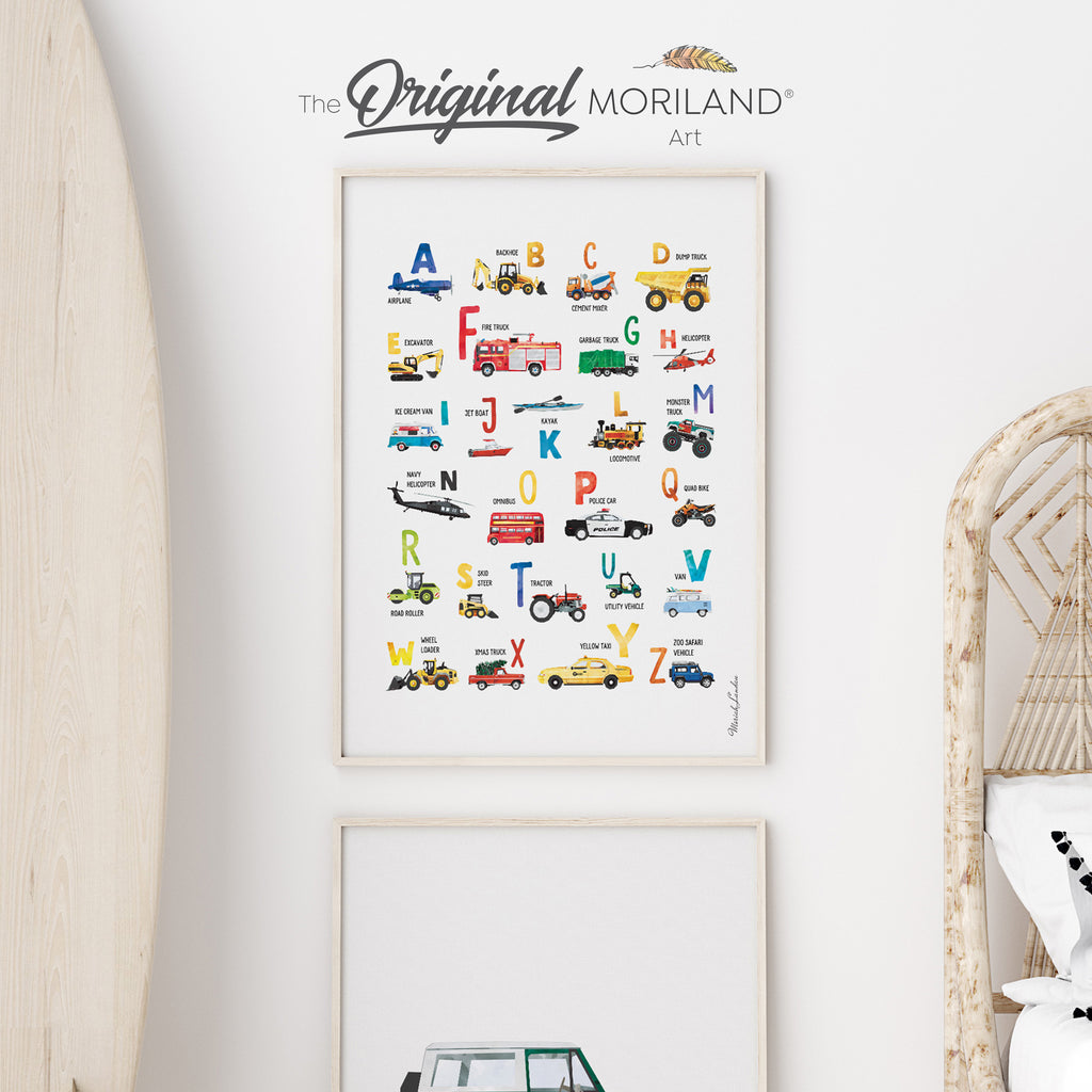 Transportation vehicle Alphabet Fine Art Print poster for Boy Room Decor