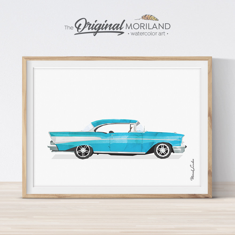 Chevrolet Bel-Air blue classic wall art print for kids bedroom and playroom decor, watercolor illustration