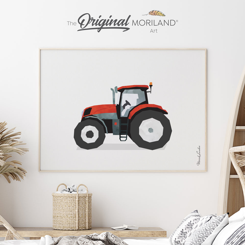 watercolor tractor print poster by MORILAND