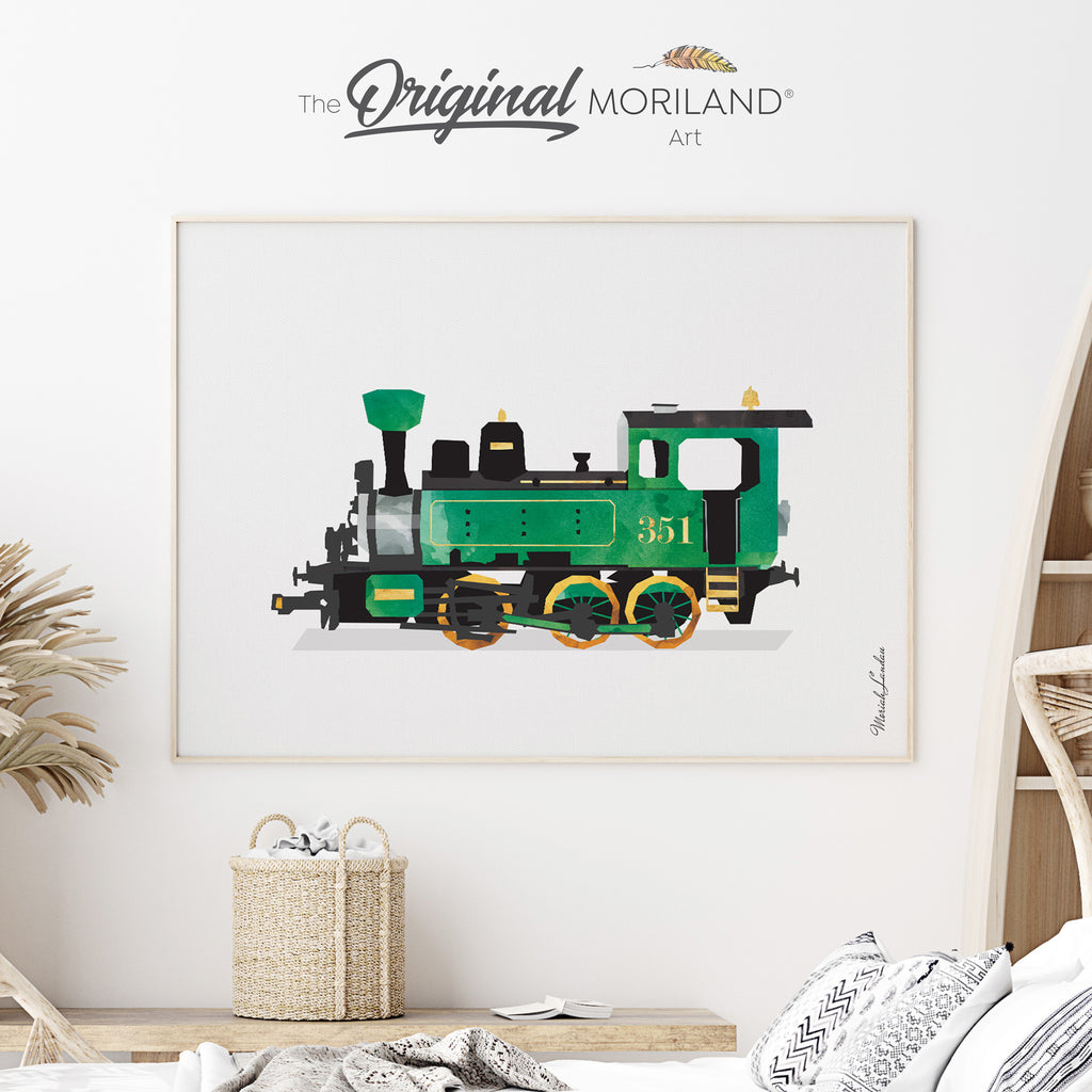 Steam locomotive train Fine Art Print for Boy Room Decor