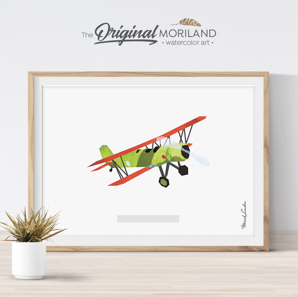 vintage biplane plane watercolor poster print for kids room decor - baby green