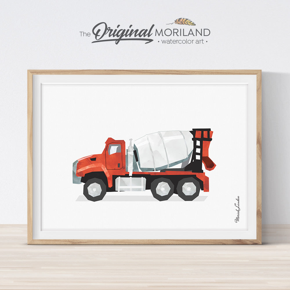 red cement mixer truck illustration wall art print for boy bedroom and nursery decor