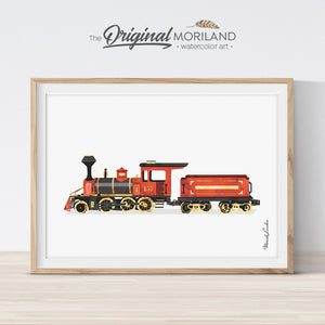 Red Watercolor Train Printable Wall Art for Toddler Bedroom Decor