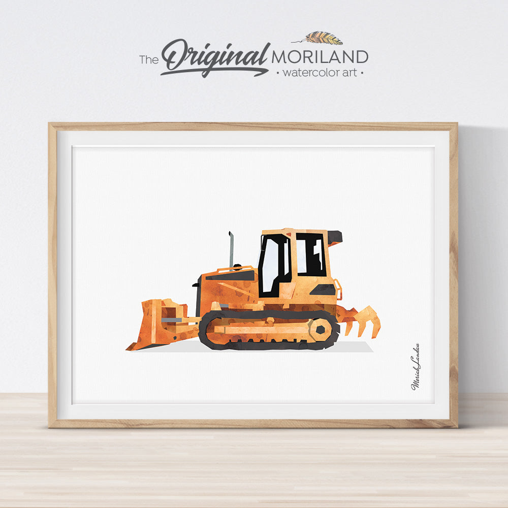 orange bulldozer watercolor wall art print for boy and toddler bedroom decor