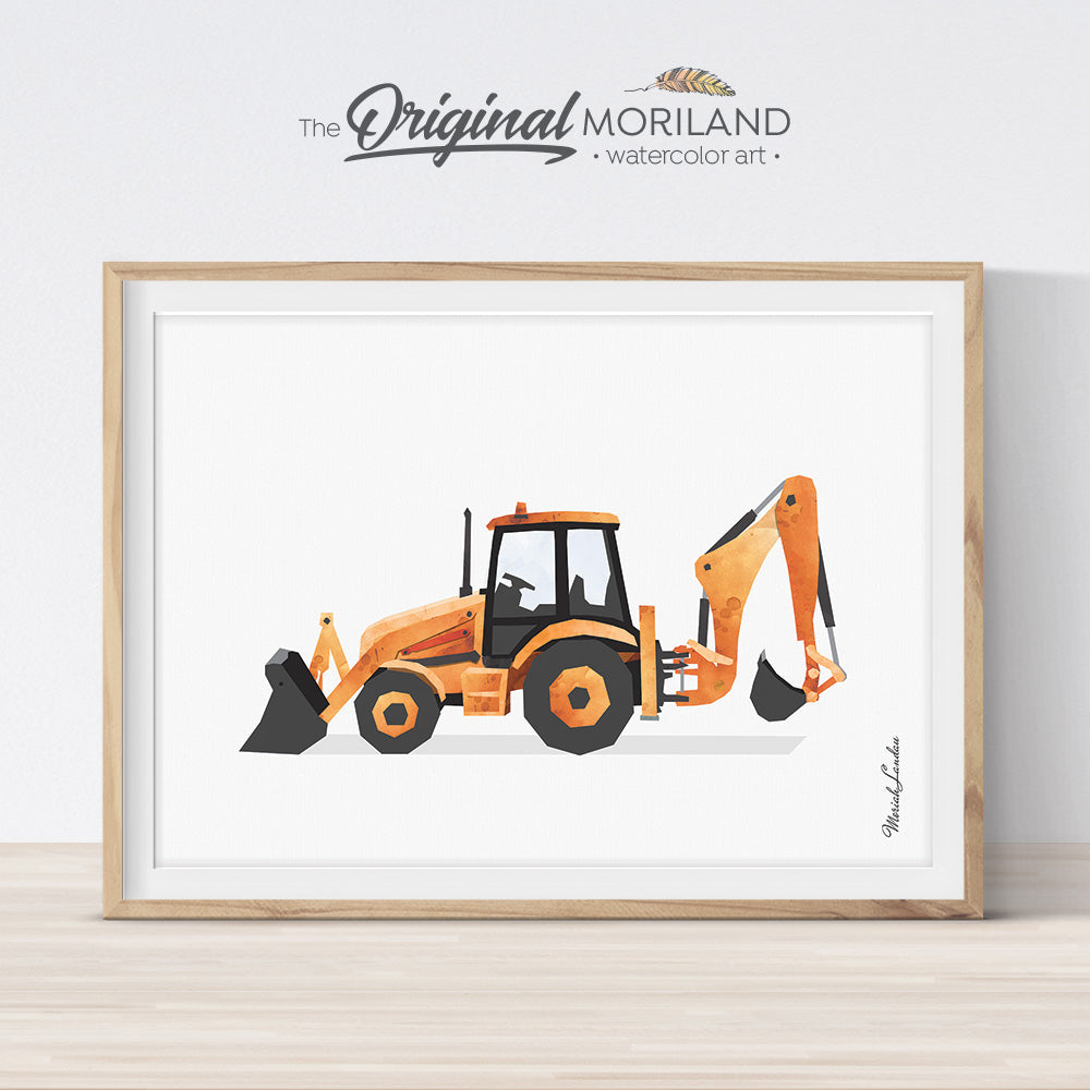 Orange Backhoe Digger Wall Art for Big Boy Room decor