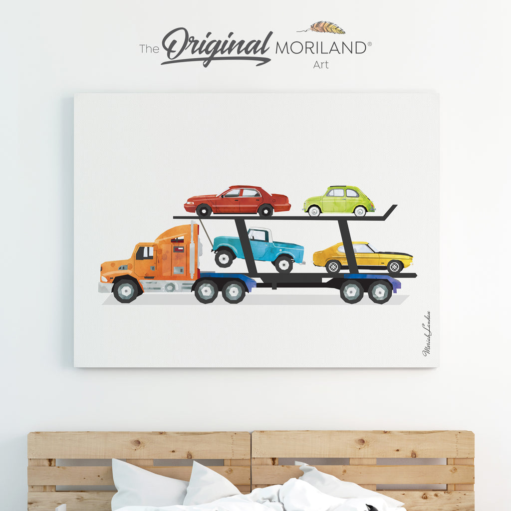 Car Carrier Trailer Canvas Print for Boy Room Decor