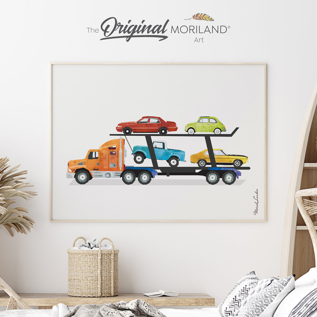 Car Carrier Trailer Fine Art Print for Boy Room Decor