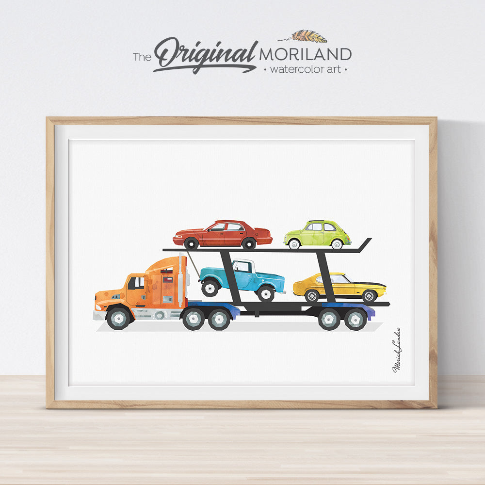 Car Carrier Print, Transportation Print, Truck Print, Truck Wall Decor, Prints for Boys Room, Toddler Boy Prints, Car Transporter, Printable