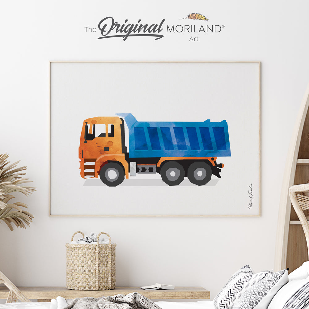 watercolor dump truck wall art print for boy bedroom by MORILAND