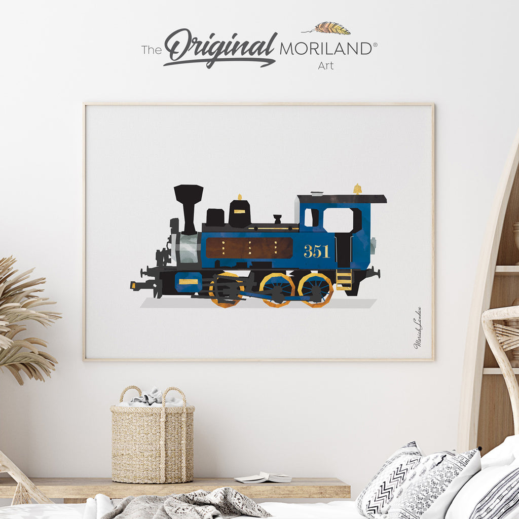 steam locomotive watercolor art for boy room decor by MORILAND