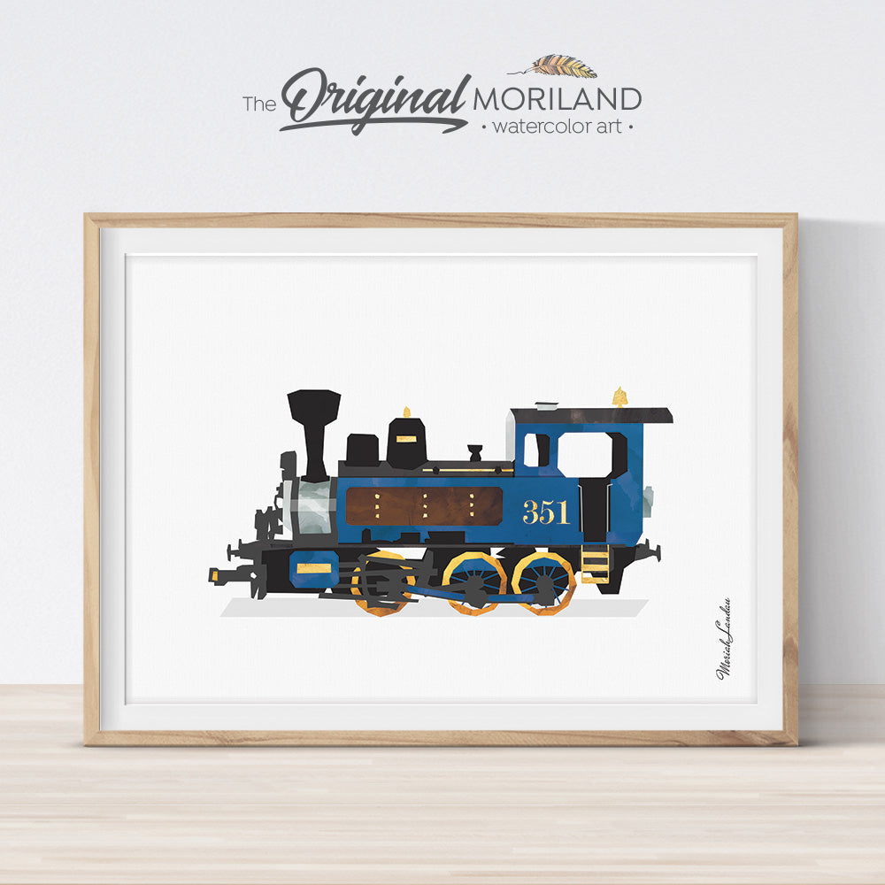 Blue Steam Locomotive Watercolor Wall Art for Kids Bedroom Decor