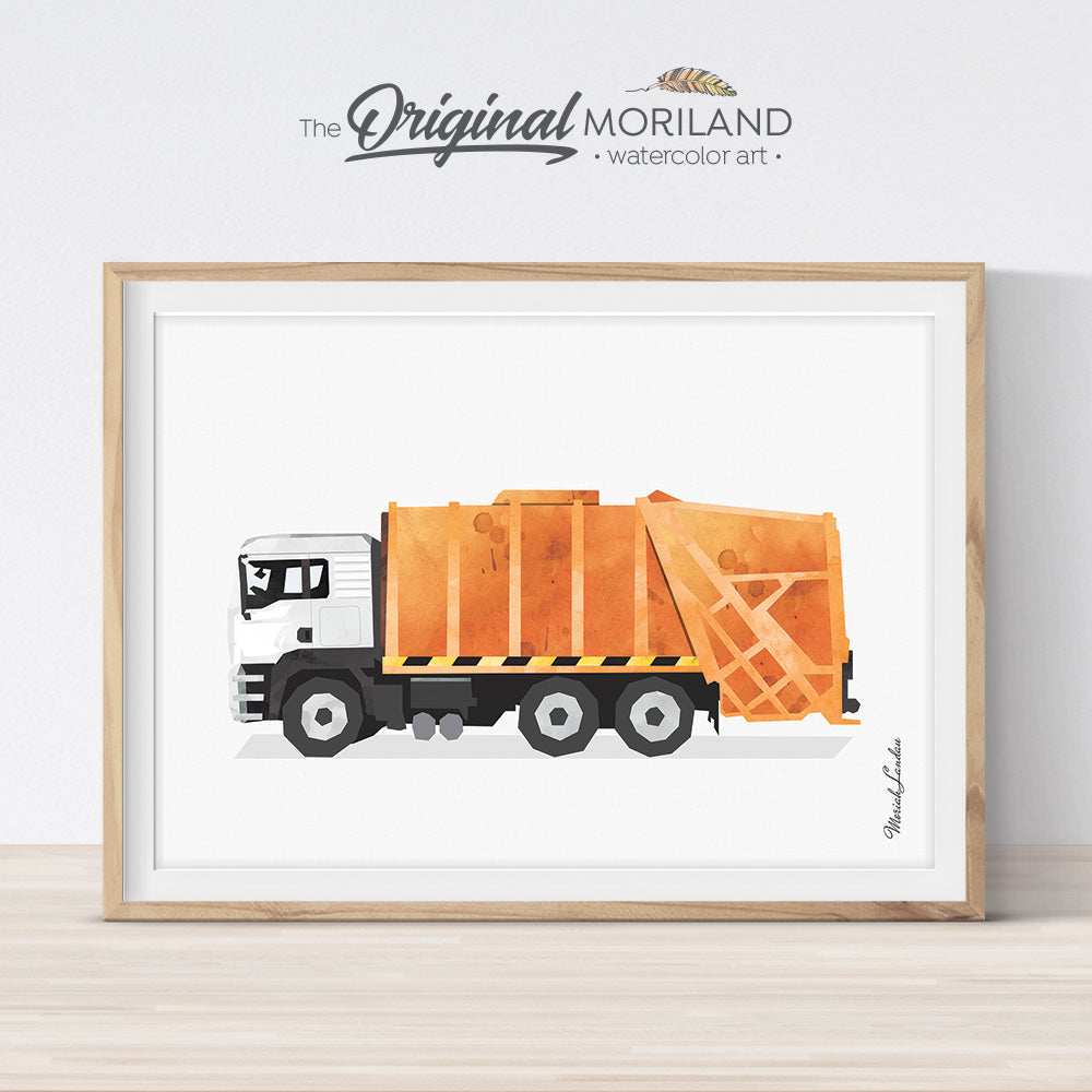 Orange watercolor garbage truck art print for big boy room decor by MORILAND