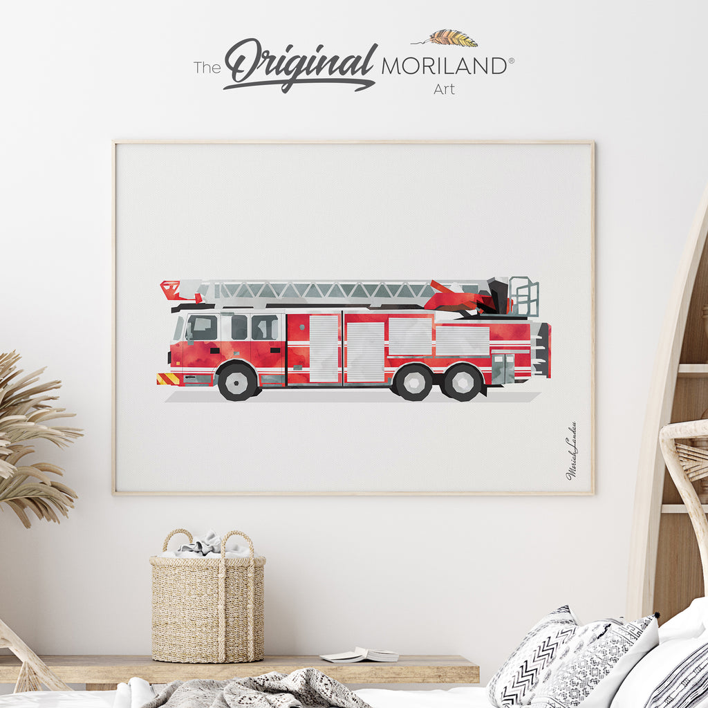 Fire Truck Engine  Fine Art Print for Boy Room Decor