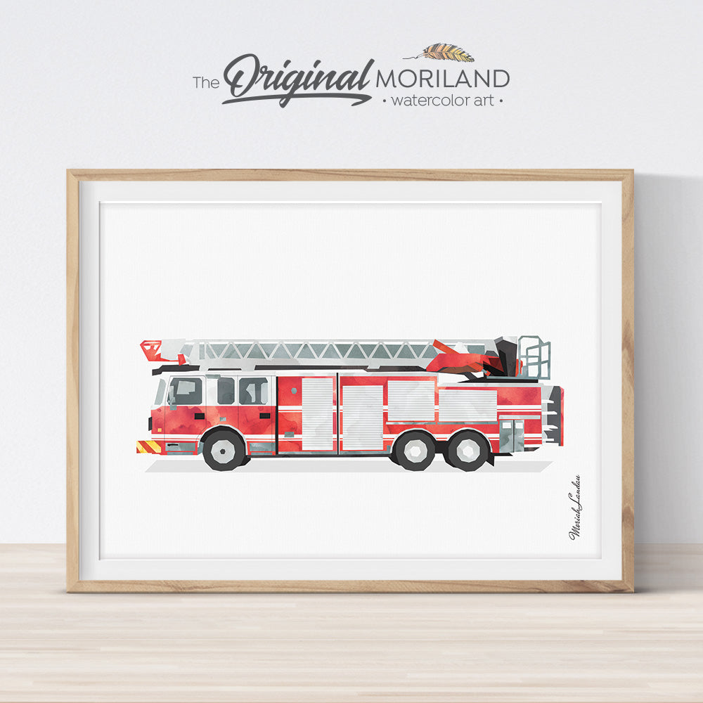 Fire Truck Print, Fire Truck Printable, Ladder Truck Print, Firetruck Decor, Transportation Prints, Big Boy Room Decor, Kids Bedroom Art
