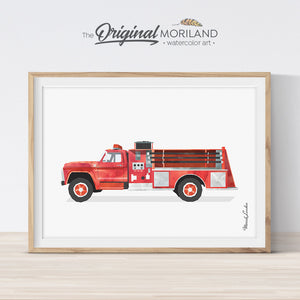 Vintage fire engine fire truck wall art print for boy room decor