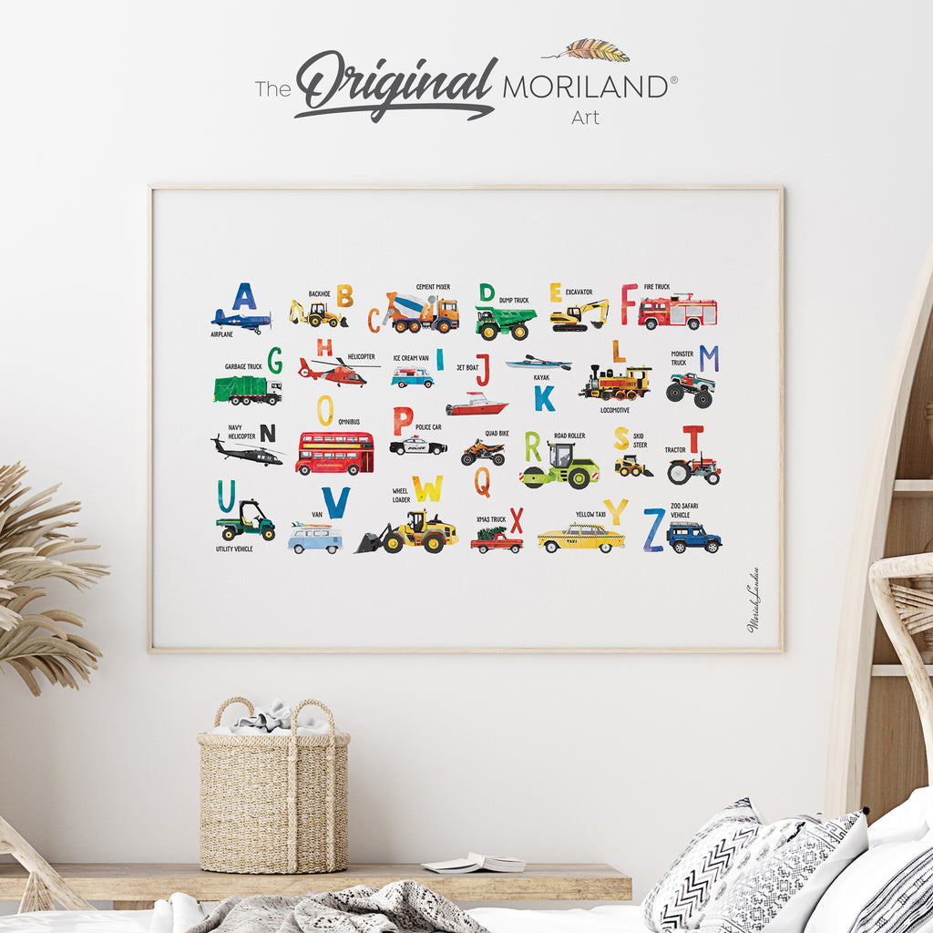 Transportation Alphabet Fine Art Print for Boy Room Decor