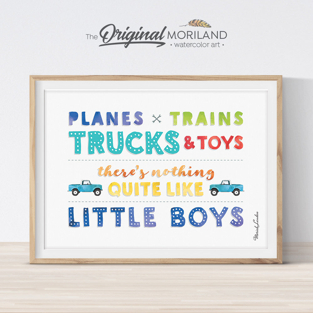 Planes Trains Trucks and Toys Print, Transportation, Vehicle Art, Boy Nursery Decor, Playroom Wall Art, Boy Bedroom Art, Printable quote