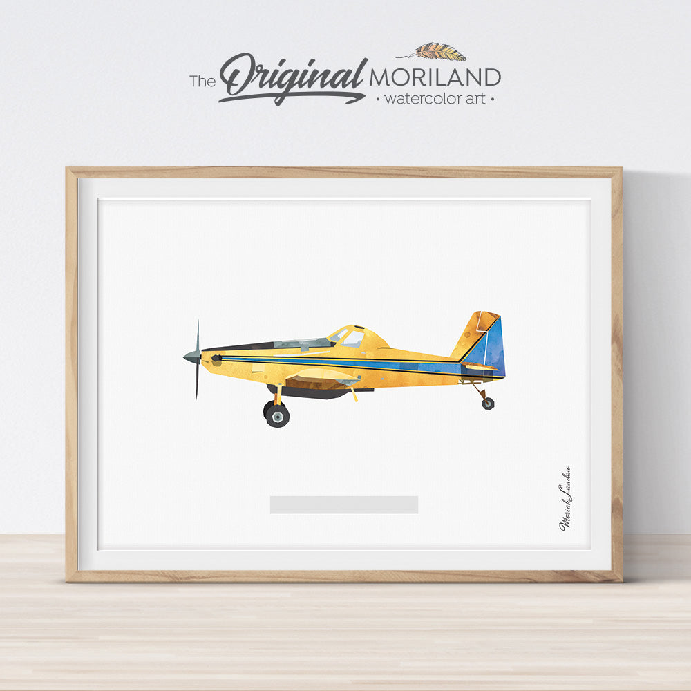 Agricultural Aircraft, Transportation Print,  air tractor wall art Print for boy bedroom decor, watercolor illustration