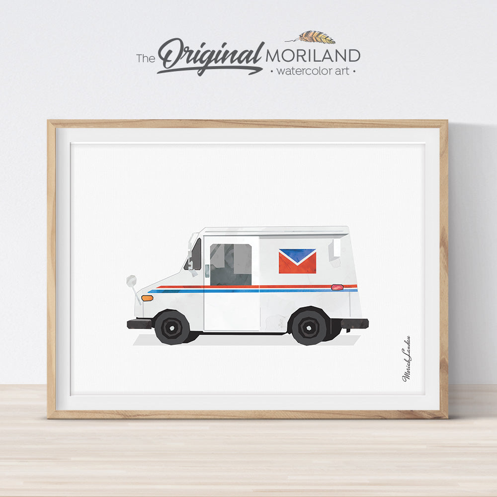 Mail Truck Wall Art Print for kids room decor