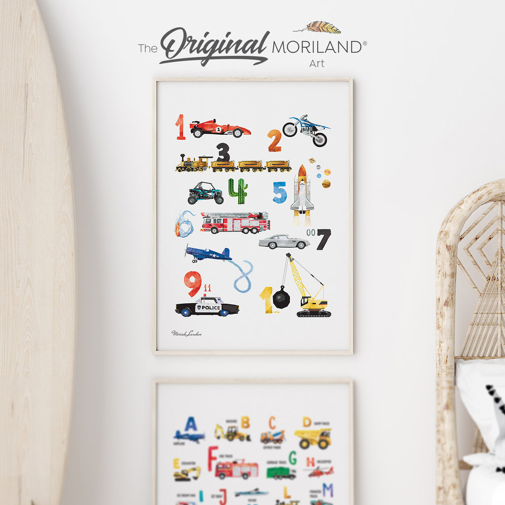 Vehicle Numbers Wall Art for boy bedroom decor by MORILAND