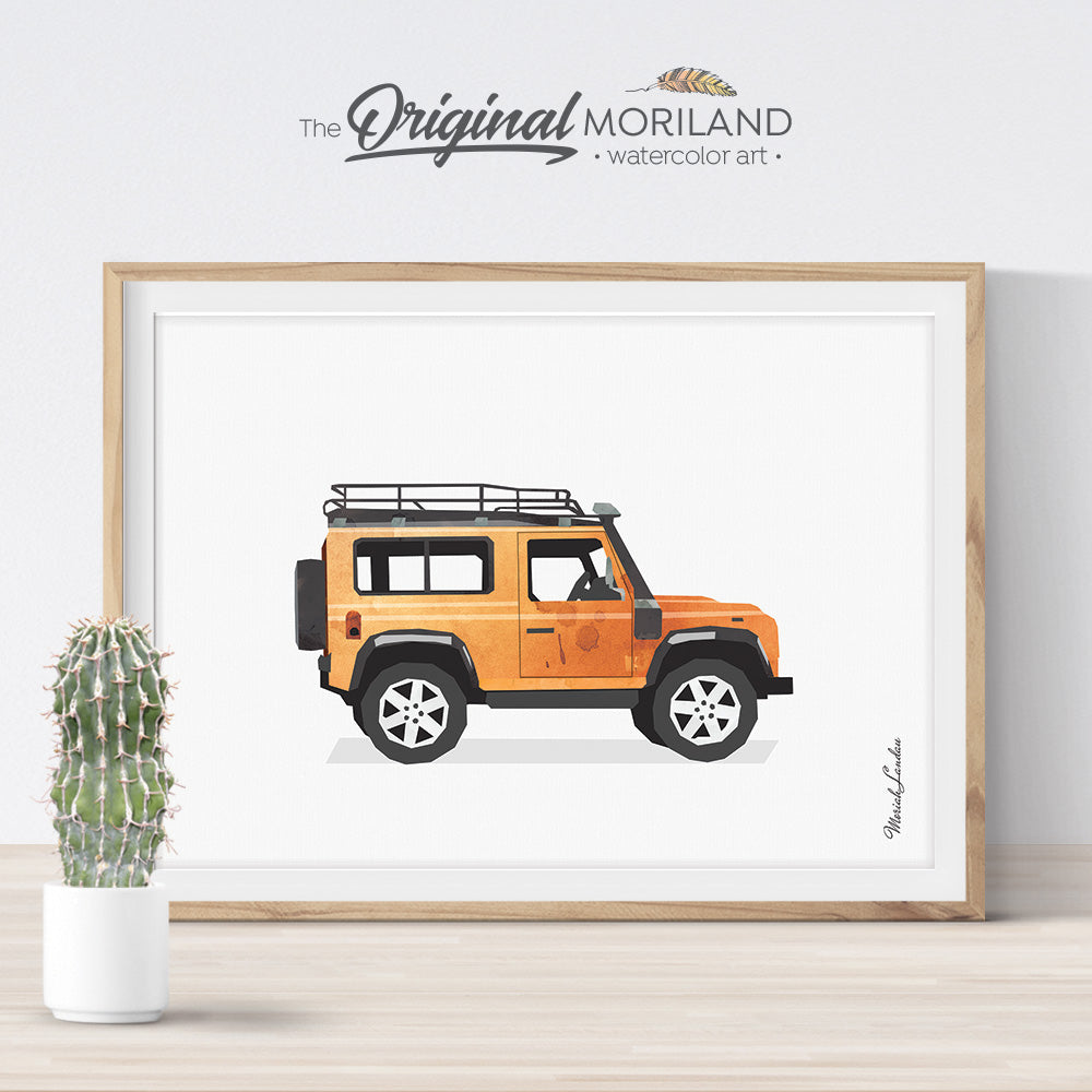 Watercolor Orange SUV car wall art print for boy and girl bedroom decor by MORILAND