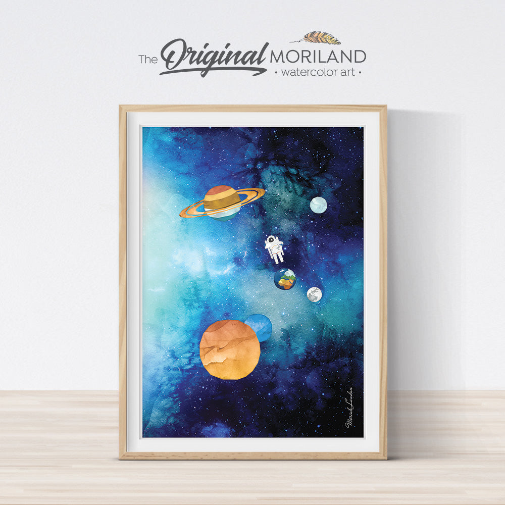 Watercolor Space Planets Galaxy Printable Wall Art for Boys Room Decor