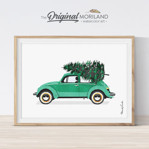 Christmas car print printable for card, wall art and decorations