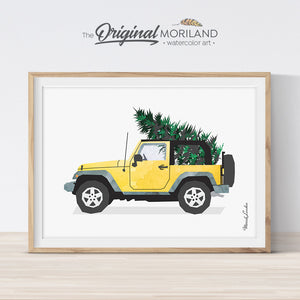 Christmas Jeep print printable for card, wall art and Christmas decorations