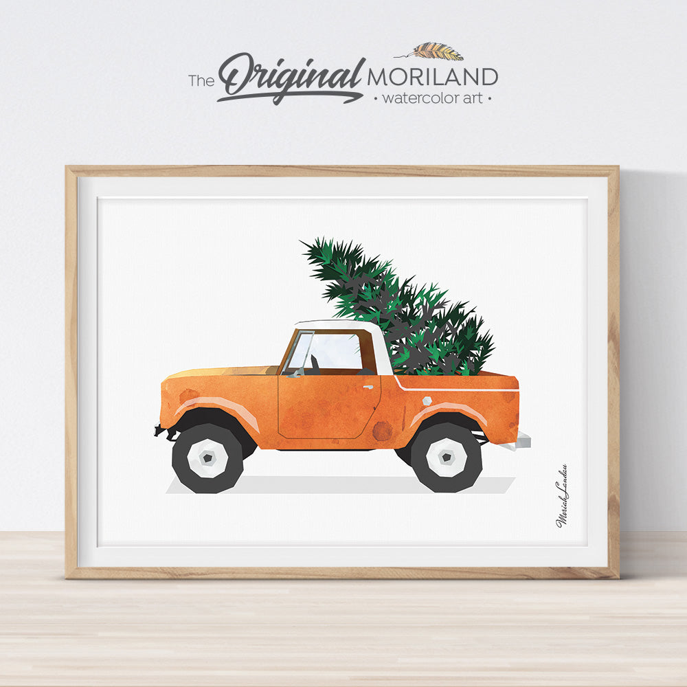 Christmas truck print printable for card, wall art and Christmas decorations