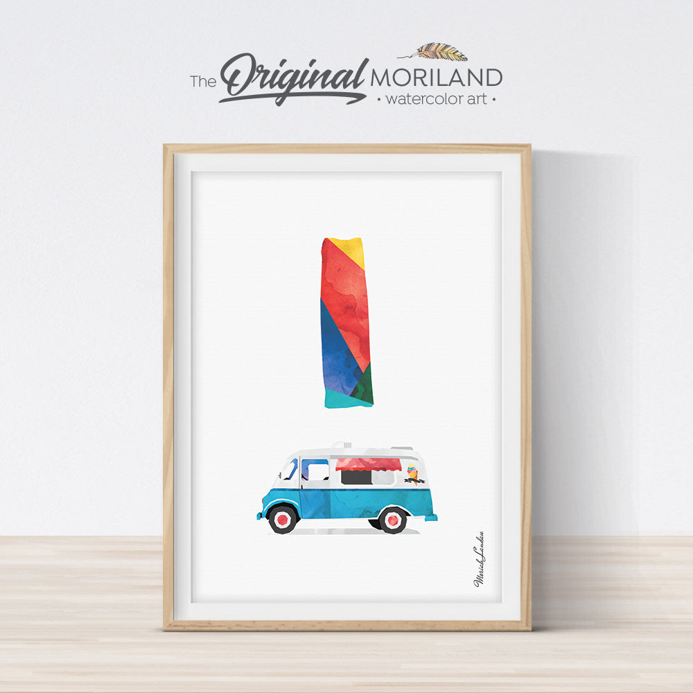 Alphabet Letter I Ice Cream Truck Wall Art print for playroom decor