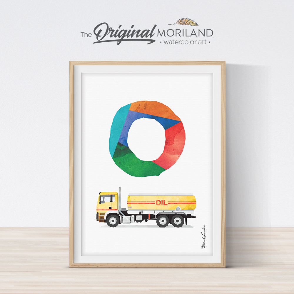 Transportation Alphabet Print letter O oil truck wall art for boys room