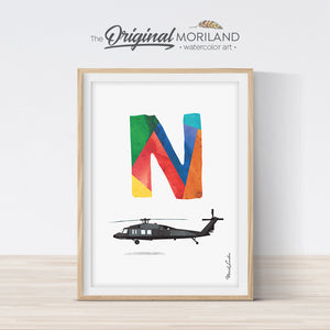 Transportation Alphabet Letter N Print - Printable Art