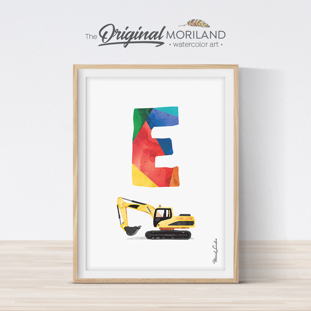 Alphabet Letter E Wall Art Digger Print for boy room decor