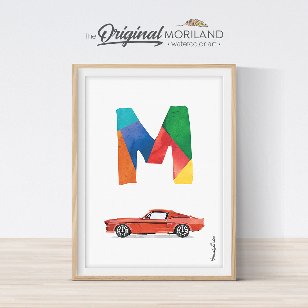 Ford Mustang Wall Art, Alphabet Letter M for boy room decor