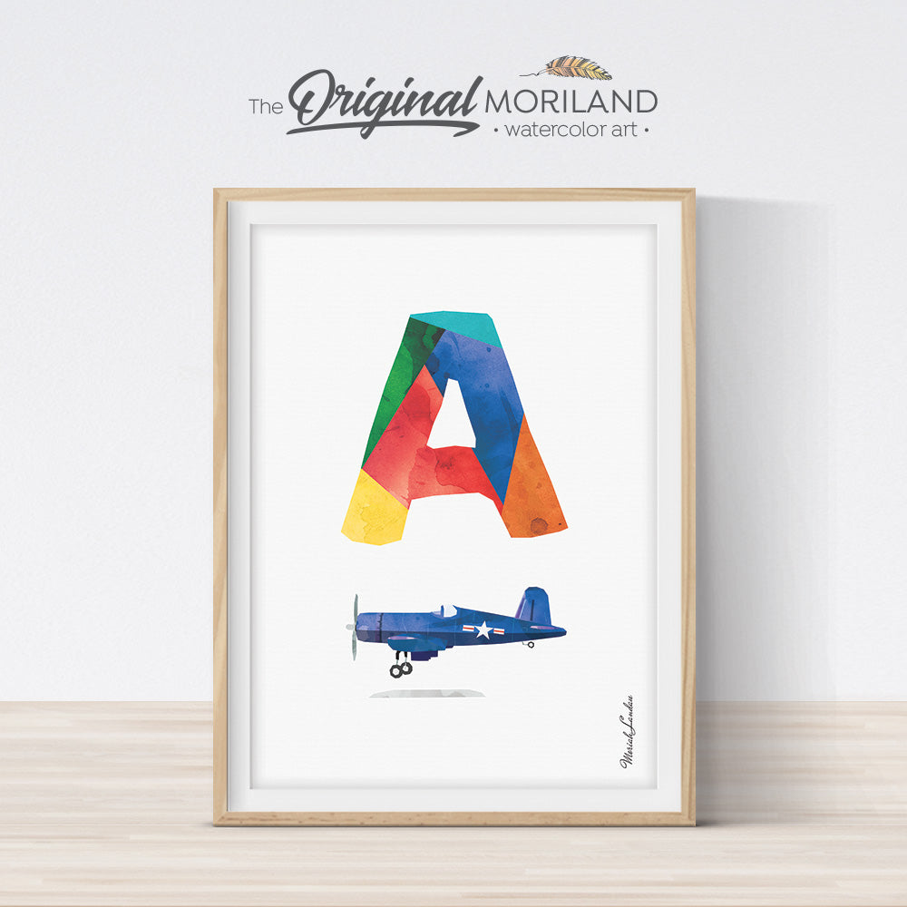 Alphabet Art Letter A Wall Art Print for Boy Bedroom Decor