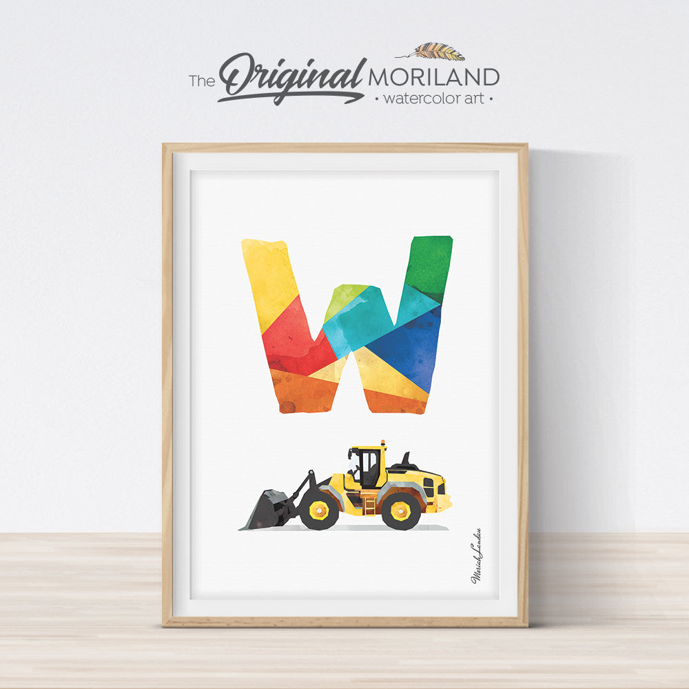 Construction Alphabet Letter W Wheel Loader Wall Art for Boys Room