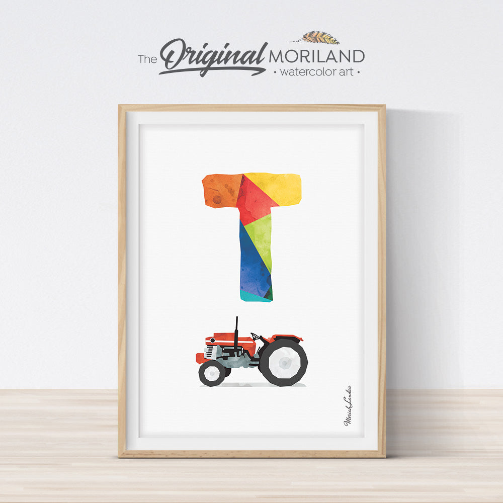 Alphabet Letter T Tractor Wall Art for farmhouse bedroom or playroom