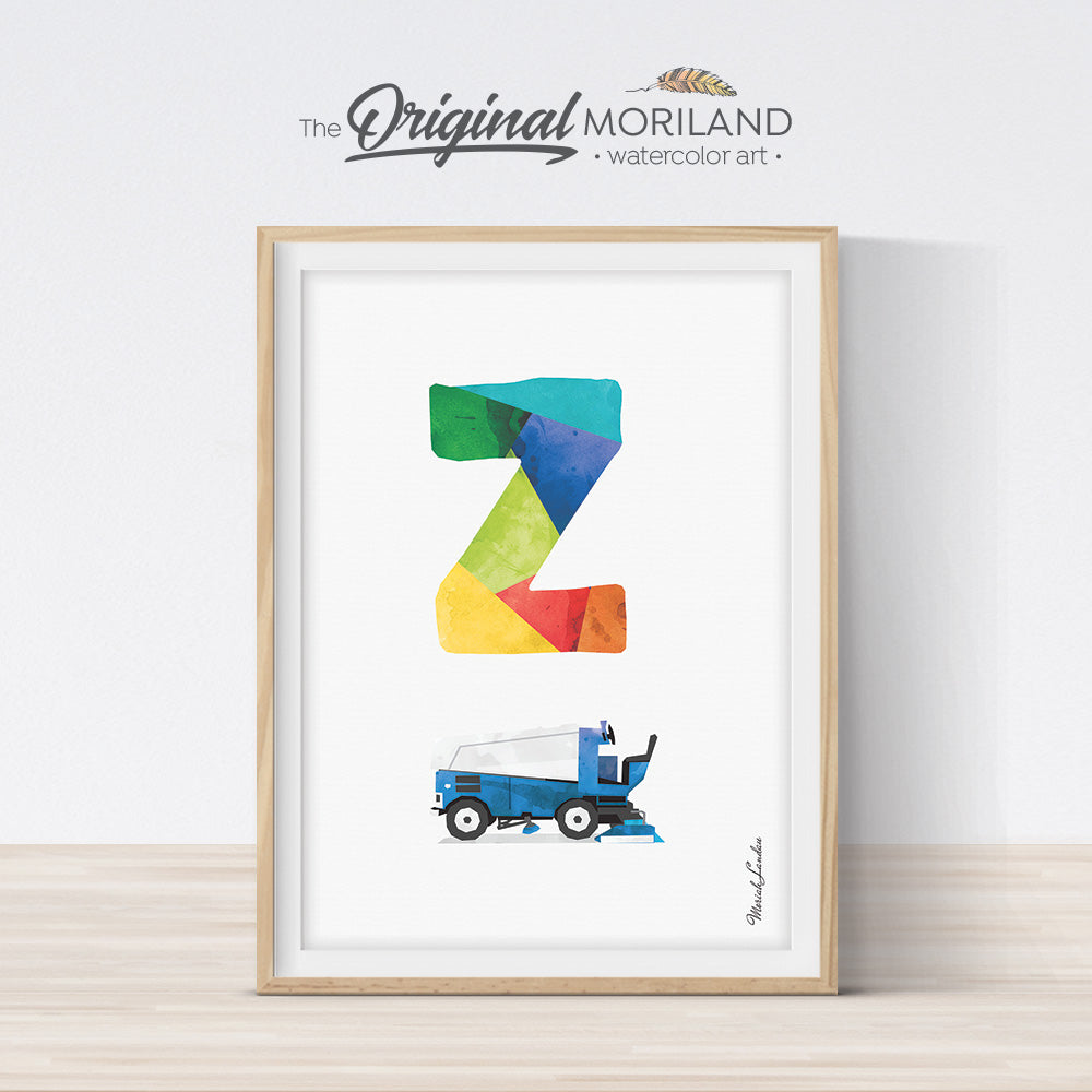 Letter Z Zamboni print wall art preschool and kids room decor