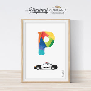 Letter P police car print wall art preschool and kids room decor