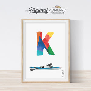 Letter K print wall art preschool and kids room decor