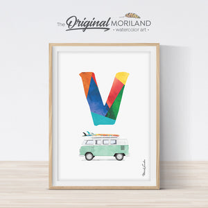 Letter V Van print wall art preschool and kids room decor