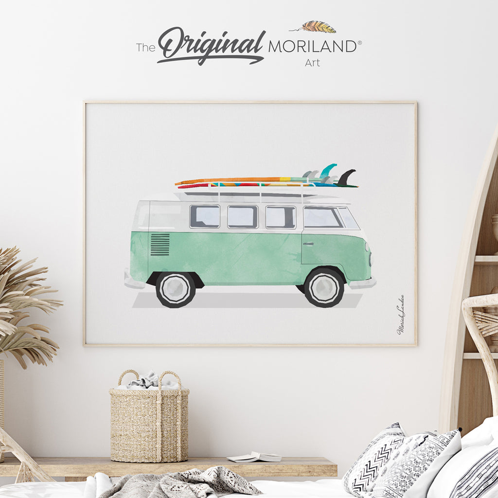 Van with surfboard art print for boy and girl bedroom decor by MORILAND