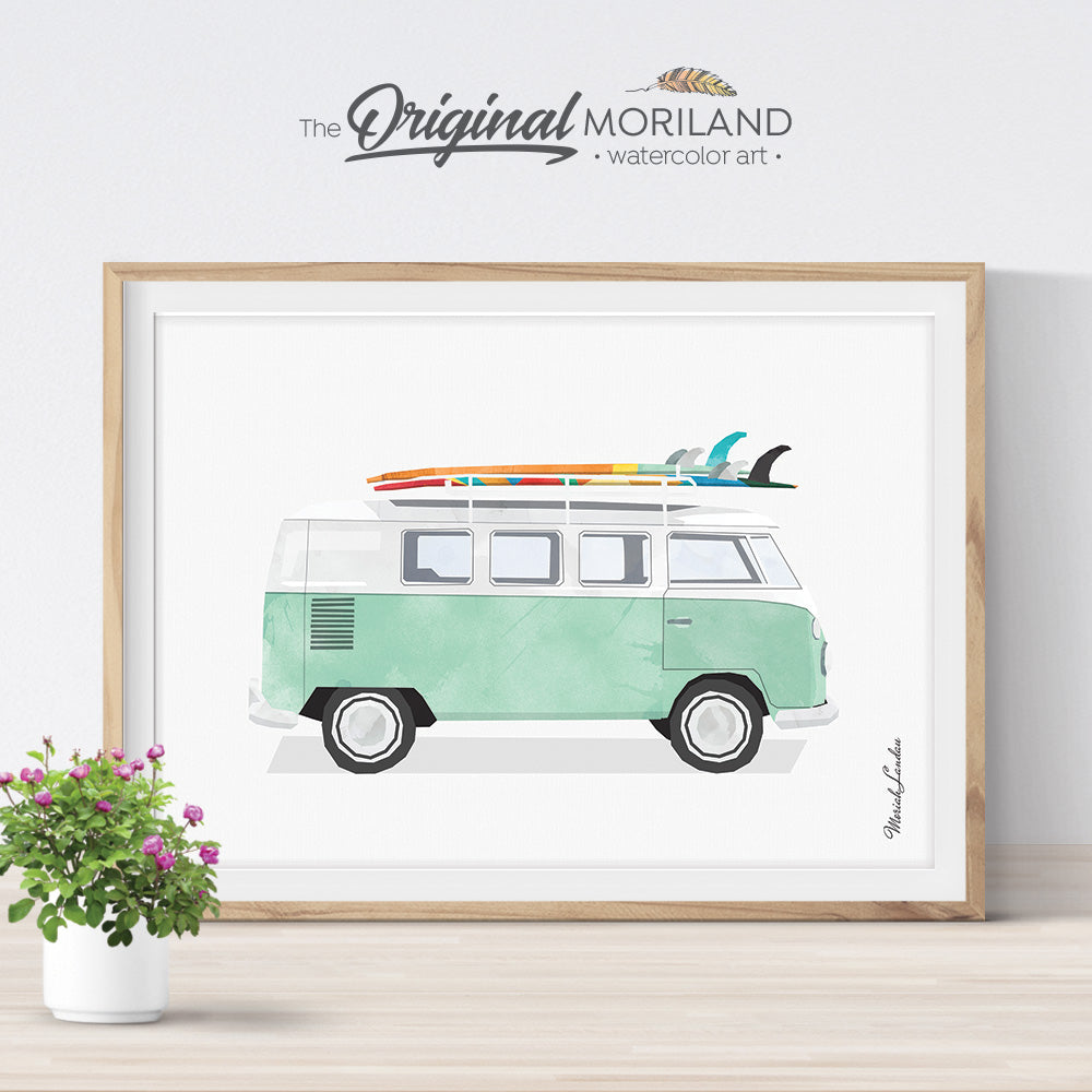 VW bus Wall Art with surfboard for girl decor