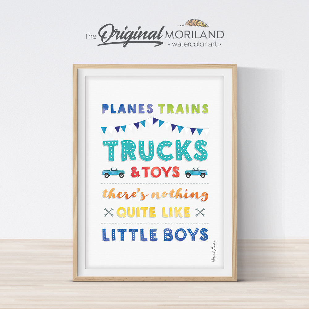 Planes Trains Trucks and Toys, Bedroom Printable Wall Art