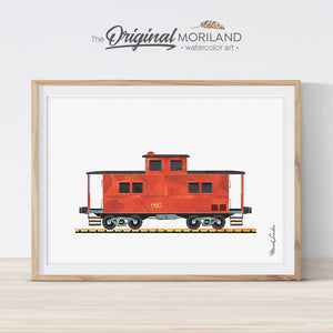 Caboose train watercolor wall art print for boy bedroom decor